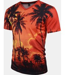 mens estate creativa 3d dusk alberi di cocco stampato v-collo manica corta t-shirt casual