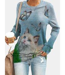 camicetta a maniche lunghe con stampa di farfalle di gatto per donna