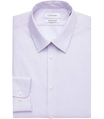 calvin klein men's infinite purple check regular fit dress shirt - size: 17 1/2 34/35