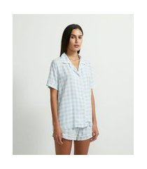 pijama curto em viscolycra estampa xadrez vichy | lov | azul | gg
