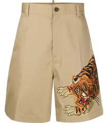 dsquared2 embroidered tiger chino shorts - brown