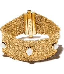 carolina bucci 18kt yellow gold xviii pearl studded woven bracelet