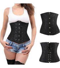 24 spiral steel boned underbust bustier corset waist training cincher lace up