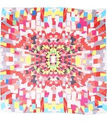 chanel pink multicolor geometric printed silk scarf pink/multicolor sz:
