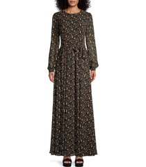 mikael aghal women's floral maxi dress - black red - size 8