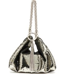 'callie' chain strap tassel mail mesh clutch