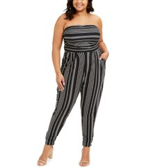full circle trends trendy plus size printed ruched-ankle jumpsuit