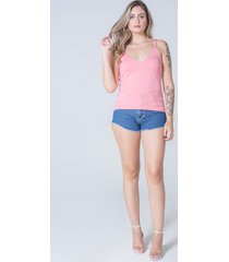 blusa regata dalia decote v tricot feminino rosa claro