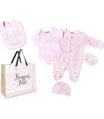 bonjour bebe baby girls little dreamer footie 5 piece layette gift set