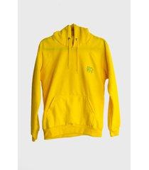 buzo-hoodie logo bordado hombre amarillo-aguamarina kuva - elefante