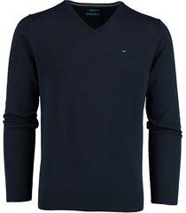 bos bright blue vince v-neck pullover flat kn 21105vi01bo/290 navy
