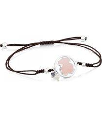 pulsera camille de plata, gemas y cordón en color marrón