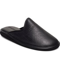 suede lthr upper slippers tofflor svart hush puppies