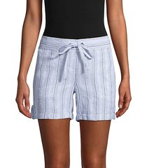 linen blend striped drawstring shorts