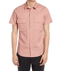 open edit stretch short sleeve button-up utility shirt, size medium in pink ash at nordstrom