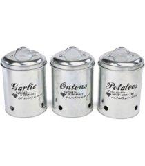 mind reader 3 piece garlic, onion, potatoes metal canister set