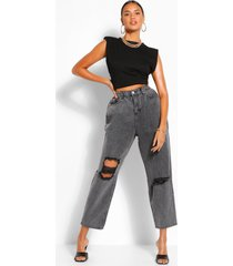 high rise acid wash distressed mom jeans, washed black
