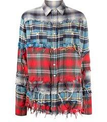 r13 distressed layered plaid jacket - blue