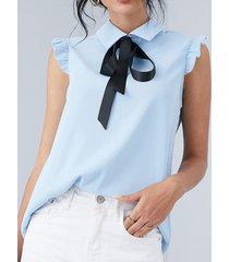 yoins corbata con ribete de volantes diseño classic blusa sin mangas con cuello