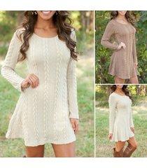 women's winter long sleeve jumper tops knitted sweater bodycon tunic mini dress