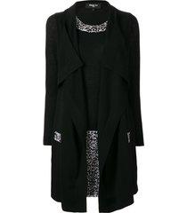 paule ka draped open-front knitted dress - black