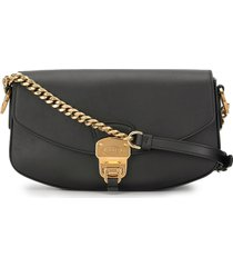 tod's chunky hardware shoulder bag - black