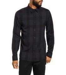 men's vince regular fit plaid button-up shirt