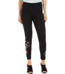 style & co petite floral-embroidered leggings, created for macy's