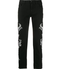 dolce & gabbana stretch skinny jeans in bandana print - black