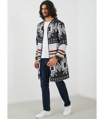 abrigo de manga larga con estampado de estilo étnico casual para hombre