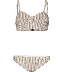 lisa marie fernandez goldwyn stripe seersucker bikini - neutrals