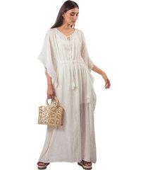 vestido adrissa blanco manta efecto lino