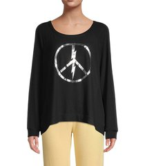 lauren moshi women's graphic high-low cotton-blend sweatshirt - black - size s