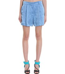 logo shorts shorts in blue viscose