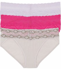 natori intimates bliss perfection one-size v-kini 3 pack panty, women's, microfiber