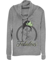 juniors disney princesses fabulous tiana cowl - neck sweater