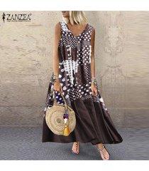 zanzea s-5xl vestido sin mangas de verano sin mangas para mujer vestido estampado floral suelto -café
