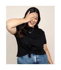 camiseta de algodão plus size básica com nó manga curta decote redondo preta