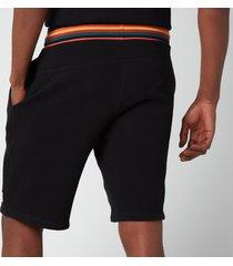 ps paul smith men's drawstring stripe rib jersey shorts - black - s