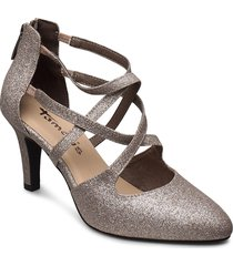 woms slip-on shoes heels pumps classic silver tamaris