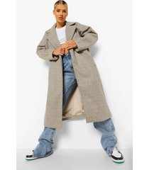 oversized nepwollen cocoon jas, mocha