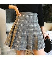 woman girl pleated plaid skirt college style gray pleated plaid skirt- petite