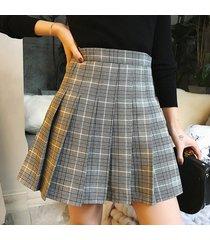 woman girl pleated plaid skirt college style gray pleated plaid skirt- petite