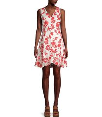 rebecca taylor women's embroidered linen floral dress - ivory red - size 10