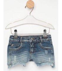 shorts jeans express florzinha azul