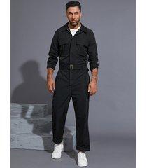 hombres casual moda manga larga cinturón cremallera mono