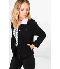 borg collar jean jacket, black