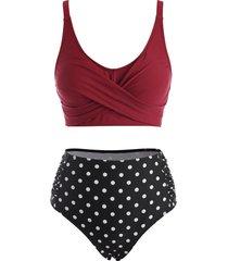 polka dot criss cross ruched colorblock tankini swimwear
