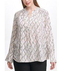 calvin klein plus size printed split-neck top