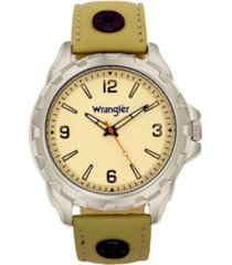 wrangler men's watch, 53.5mm ip grey case, beige dial with notched bezel, zoned dial with arabic numerals, taupe leather strap with rivets, red second hand